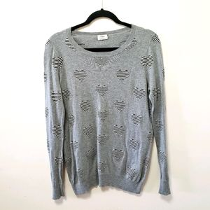 Wallace by Madewell Gray Heart  Pullover Sweater S